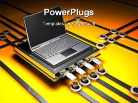 PowerPoint template displaying dark grey metallic laptop computer in the background.