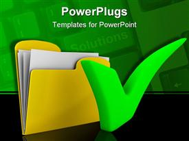 PowerPoint template displaying green check mark with yellow computer folder, keyboard background, IT solutions