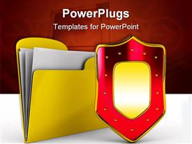 PowerPoint template displaying yellow computer folder with shield in the background.