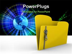 PowerPoint template displaying yellow computer folder with zipper. Isolated 3D depiction in the background.