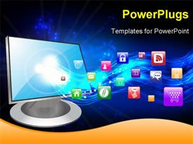 PowerPoint template displaying computer Icons in the background.