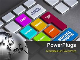 PowerPoint template displaying best computer keyboard detail specially designed for time waste in the background.