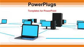 PowerPoint template displaying computer systems linked together with central server in middle