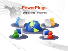PowerPoint template displaying business and internet networking in the background.