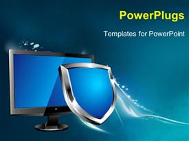 PowerPoint template displaying lCD computer screen with shiny blue and silver shield depicting protection in the background.