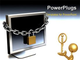 PowerPoint template displaying gold plated man with key in hand to chained computer monitor