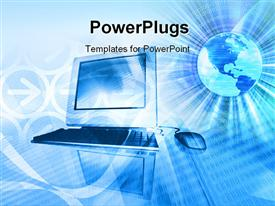 PowerPoint template displaying mixed media abstract computer technology background
