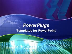 PowerPoint template displaying bluish purple and green template with globe and computer keyboards and mouse in the background.
