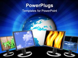 PowerPoint template displaying three computer monitors with natures colors in the background.
