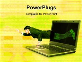 PowerPoint template displaying break free from technology- green binary background