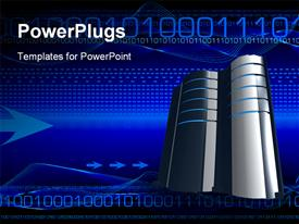 PowerPoint template displaying animated silver colored computer with binary codes on blue background