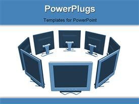 PowerPoint template displaying flat screen computers network - 3D in the background.