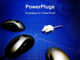 PowerPoint template displaying mouse looks frightened as it looks into its computer analogues in the background.