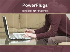 PowerPoint template displaying young man in a casual contemporary setting working on a laptop computer in the background.