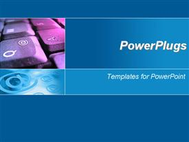 Blue template with computer keyboard and email signs template for powerpoint
