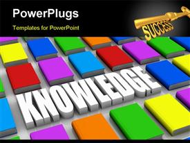 PowerPoint template displaying close up several colored books with the word knowledge (3D render)