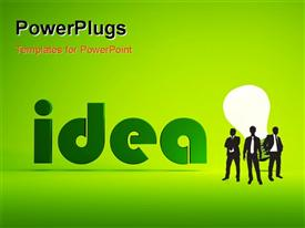 PowerPoint template displaying men standing before lighted bulb depicting bright ideas over green background