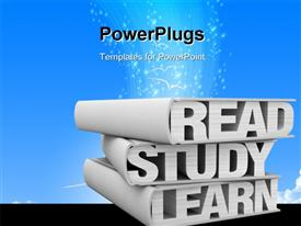 Three books with the words - read, study, learn instead of pages (render 3D) template for powerpoint