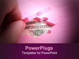 PowerPoint template displaying lots of pink jig saw puzzles with a dollar bill under