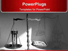 PowerPoint template displaying old wooden scale with wooden hourglass on plate in dark background