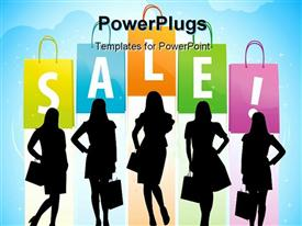 PowerPoint template displaying conceptual sale depiction with women shapes with reflection
