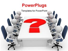 Businessmen discuss a question powerpoint design layout