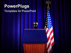 PowerPoint template displaying pulpit prepeared for press conference with blue curtain background