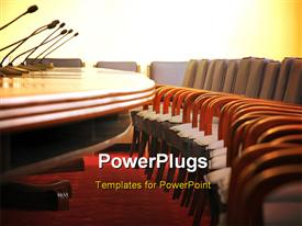 Microphones in the empty conference room chairs in the conference room powerpoint theme