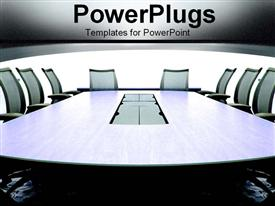 PowerPoint template displaying grey conference room in an office building with chairs for meeting on team communication