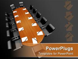 Conference table with papers and pens presentation background