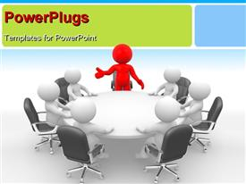 Leadership and team at conference table. 3D powerpoint template