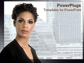 PowerPoint template displaying african American lady looks confidently at the camera