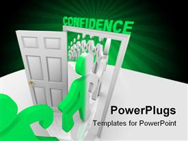 PowerPoint template displaying line of people step through the confidence doorway and become transformed