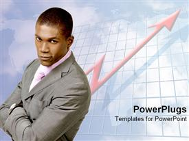 PowerPoint template displaying confident man over increasing graph arrow in the background.