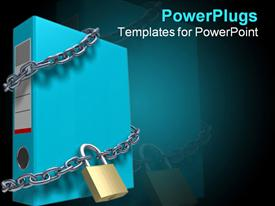 PowerPoint template displaying large blue folder being bound by silver chains and a padlock