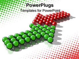 PowerPoint template displaying green and red spheres arranged to form arrows on white surface