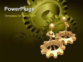PowerPoint template displaying two gold plated men in gold gears with green gears in background