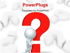 PowerPoint template displaying 3D man leaning on red question mark symbol