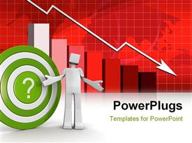 PowerPoint template displaying a person with a dartboard and recession sign in background