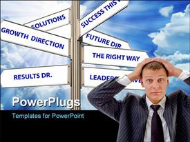 PowerPoint template displaying a person with a number of signs in background