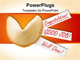 PowerPoint template displaying backlit single fortune cookie in the background.