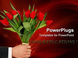 PowerPoint template displaying adult male hand holding a bunch of red tulip flowers