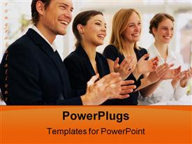 PowerPoint template displaying business people clapping in celebration, congratulations, promotion, orange border