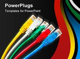 PowerPoint template displaying set of 5 colored patch cord with connector