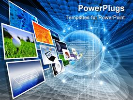 PowerPoint template displaying several depictions from the current blue background