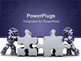 PowerPoint template displaying robot solving jigsaw puzzle in the background.
