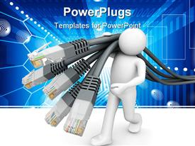 PowerPoint template displaying white human figure walking and carrying lots of phone wires