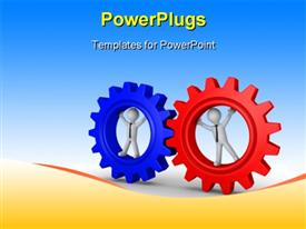 PowerPoint template displaying two large red and blue gears with 3D characters in them