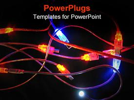 PowerPoint template displaying lots of transparent cables, inter connected and colorfuly lit