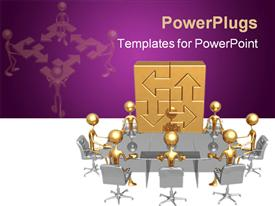 PowerPoint template displaying men having round table business meeting with purple and white background